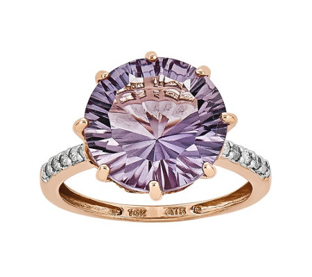 6.75 ct Rose de France & Diamond Accent Ring, 14K Rose Gold