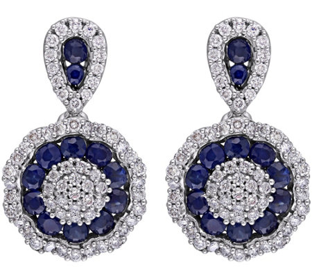 1.10 cttw Sapphire & 1/2 cttw Diamond Earrings,14K