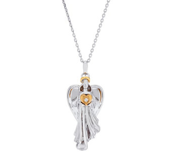 """As Is"" Hallmark Sterl. Two-Tone Heart Angel Pendant w/ 32"" Chain - J346401"