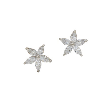 Diamonique Floral Stud Earrings, Sterling