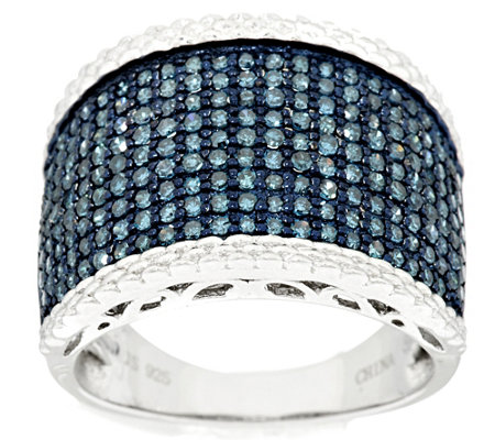 """As Is"" Pave' Blue Diamond Ring, Sterling 1.00 cttw, by Affinity"