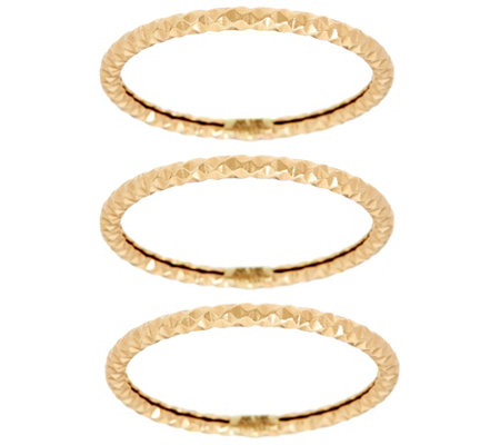 14K Gold Diamond Cut Set of 3 Band Rings