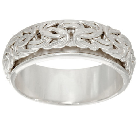 """As Is""Sterling Silver Byzantine Spinner Ring by Silver Style"