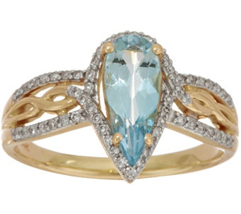 Pear Shaped Santa Maria Aquamarine & Diamond Ring 14K, 0.80 ct - J350101