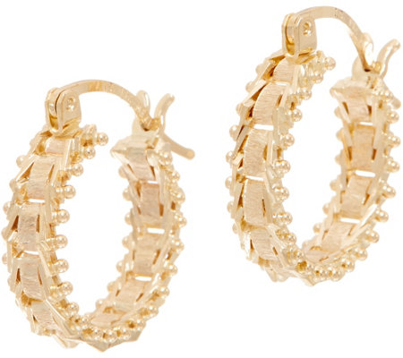 Imperial Gold Satin Sheen Huggie Hoop Earrings, 14K Gold
