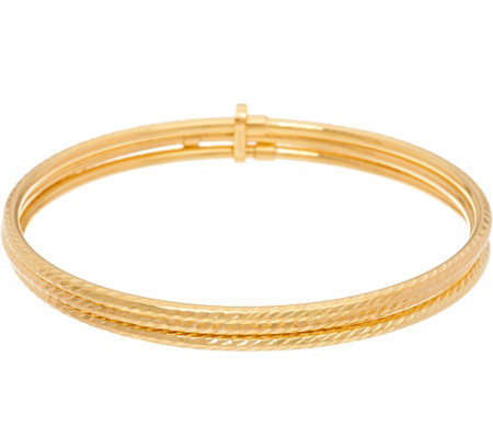"""As Is"" Italian Gold Set of 3 Average Diamond Cut Bangles, 14K Gold, 4.9g"