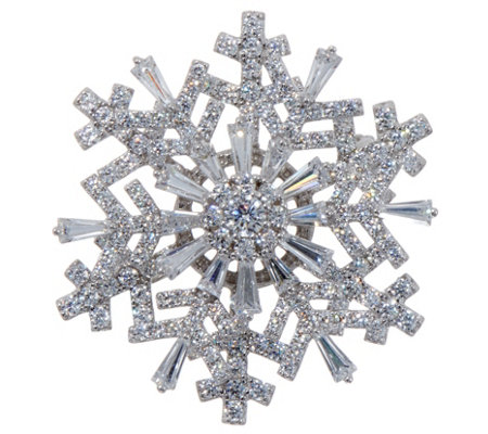 Diamonique Spinning Snowflake Pin Pendant, Sterling