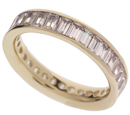 Diamonique 2.30 ct tw Baguette SilkFitEternity Band, 14K Gold