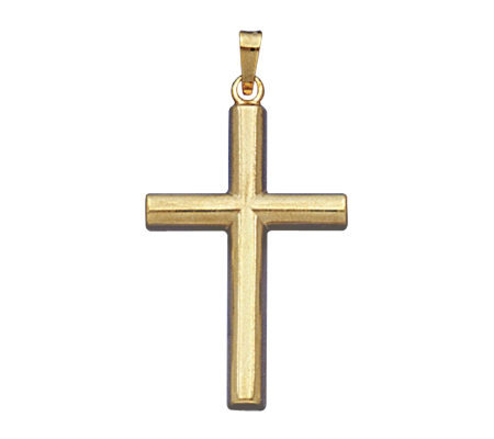 14K Yellow Gold Half Rounded Cross Pendant