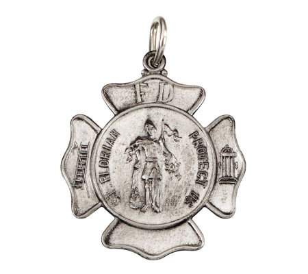 Sterling Saint Florian Fireman Badge Medal
