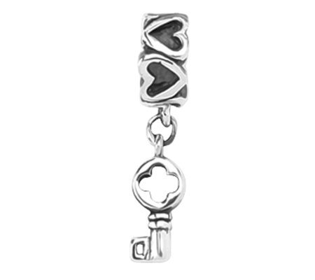 Prerogatives Sterling Key Dangle with Hearts Bead