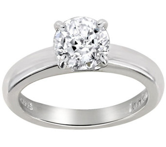 Diamonique 1.00 cttw 100-Facet Solitaire Ring, Platinum Clad - J112402