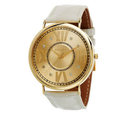 Vicence Bold Round Case Diamond Accent Leather Strap Watch, 14K