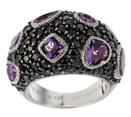 Judith Ripka Amethyst and Pave' Black Diamonique Dome Ring