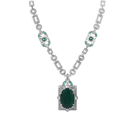 Smithsonian Simulated Mackay Emerald and Diamond Necklace