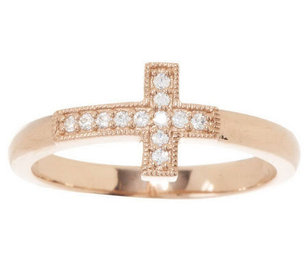 Diamonique Horizontal Cross Ring, Sterling or 14K Clad