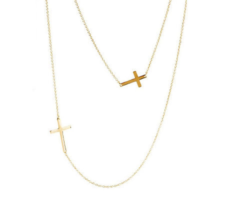 Stainless Steel Rose or Yellow Layered Cross Necklace