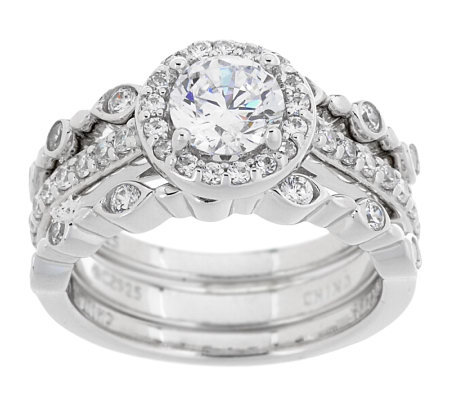Epiphany Diamonique 3-piece Bridal Ring Set