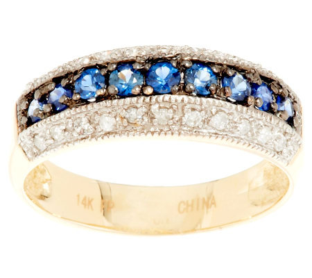 0.25 ct tw Blue Sapphire and Diamond Band Ring, 14K