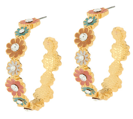 Joan Rivers Enamel Bouquet Hoop Earrings