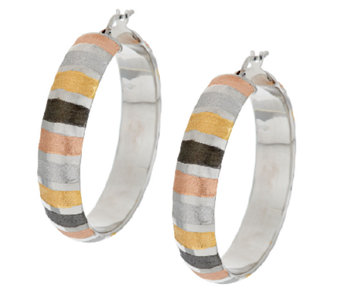 "Vicenza Silver Sterling 1-1/2"" Multi-Color Round Hoop Earrings - J289702"