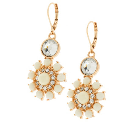 Susan Graver Floral Cabochon Statement Earrings in Goldtone