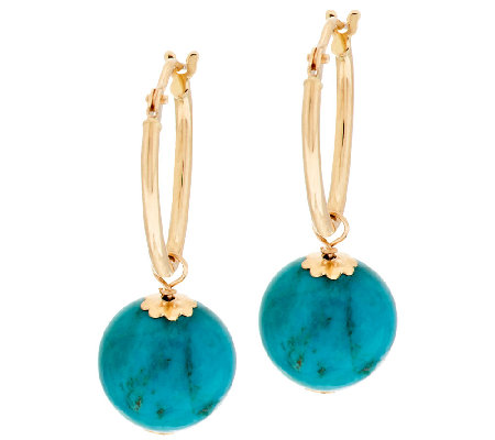 VicenzaGold Turquoise Bead Drop Hoop Earrings 14K Gold