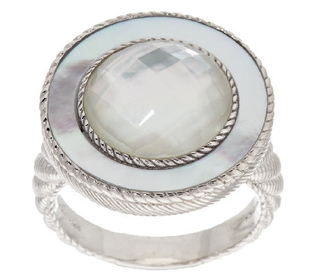 Judith Ripka Sterling White Mother-of-Pearl Doublet Ring
