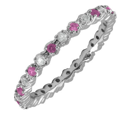 Simply Stacks Sterling Created Ruby & Diamond Stackable Ring