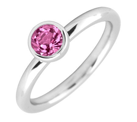 Simply Stacks Sterling 5mm Rnd Pink TourmalineSolitaire Ring