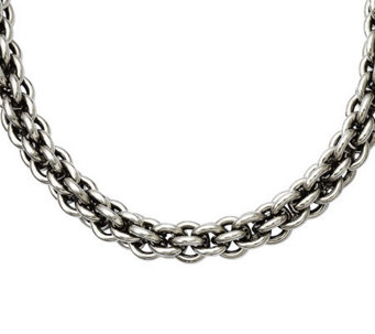 "Stainless Steel 22"" Round Link Chain Necklace - J309702"