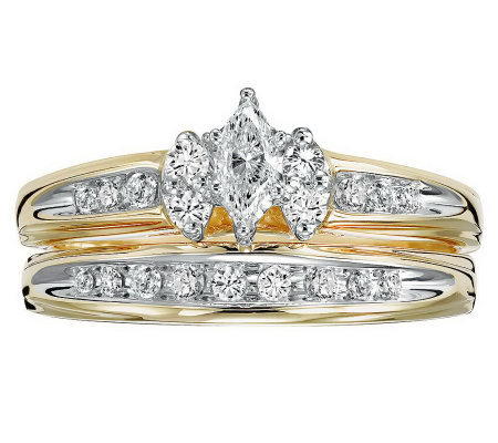 Marquise Diamond 2-Piece Ring Set, 14K, 1/2cttw, by Affinity