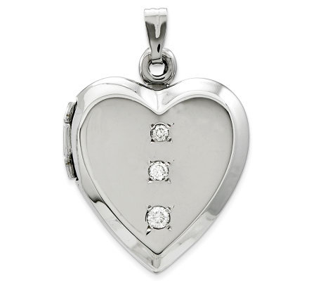 Polished Heart Locket with Diamond Accents, 14KWhite Gold