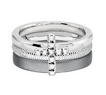 Simply Stacks Sterling Diamond Cross Ring Set - J312702