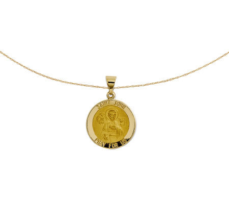"Polished Saint John Pendant w/ 18"" Chain, 14K Gold"