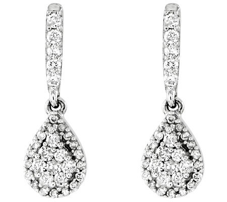 Diamond Teardrop Dangle Earrings Sterling 3/10ct by Affinity