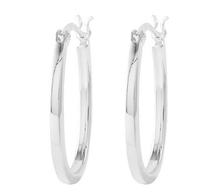 "Sterling 1"" Polished Oval Hoop Earrings"