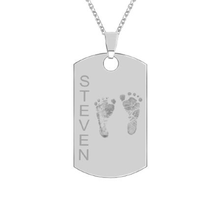 Sterling Footprint Dog Tag Pendant w/ Chain