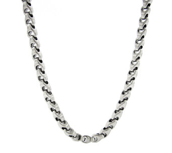 "Stainless Steel Anchor Chain Necklace with Satin Finish 24"" - J316802"