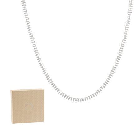 VicenzaSilver Sterling Polished and Textured Petal Chain Necklace