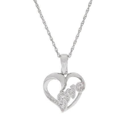 Heart Diamond Enhancer w/ Chain Sterling, 1/10 cttw, by Affinity