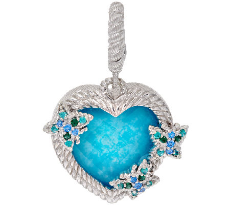 Judith Ripka Sterling & Turquoise Doublet Heart Charm