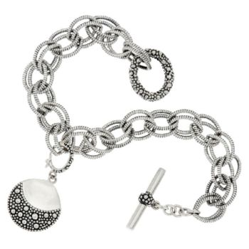 Michael Dawkins Sterling Silver Starry Night Double Link Toggle Bracelet