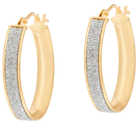 "Vicenza Gold 3/4"" Glitter Oval Hoop Earrings, 14K"