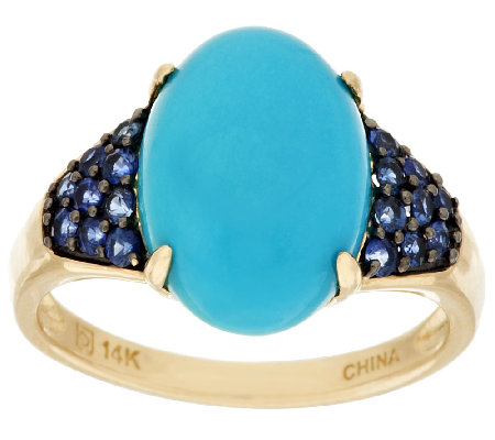"""As Is"" Sleeping Beauty Turquoise & Blue Sapphire Ring, 14K"
