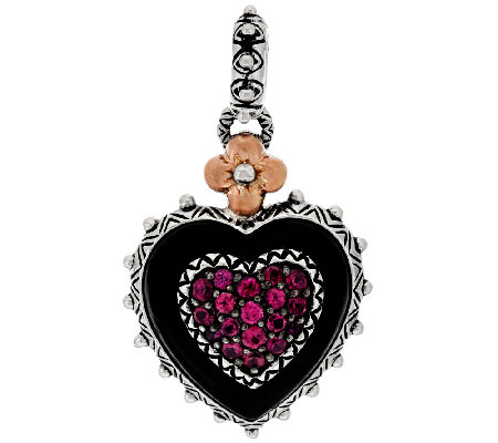 Barbara Bixby Sterling & 18K Multi-Gemstone Pave Heart Charm