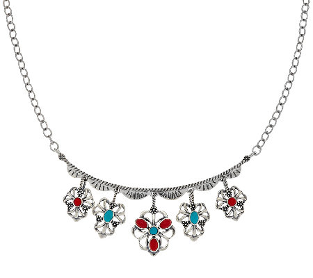 Sterling Silver Multi-Gemstone Charm Necklace by American West