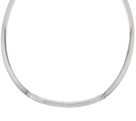 """As Is"" VicenzaSilver Sterling Pave' Diamonique Omega Necklace"