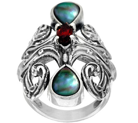 Carolyn Pollack Sterling Silver Grey Mother-of-Pearl & Garnet Ring