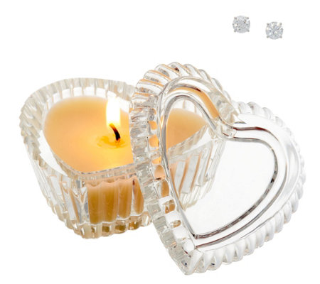 Diamonique 2 cttw Round Stud Earrings Inside Candle with Heart Box